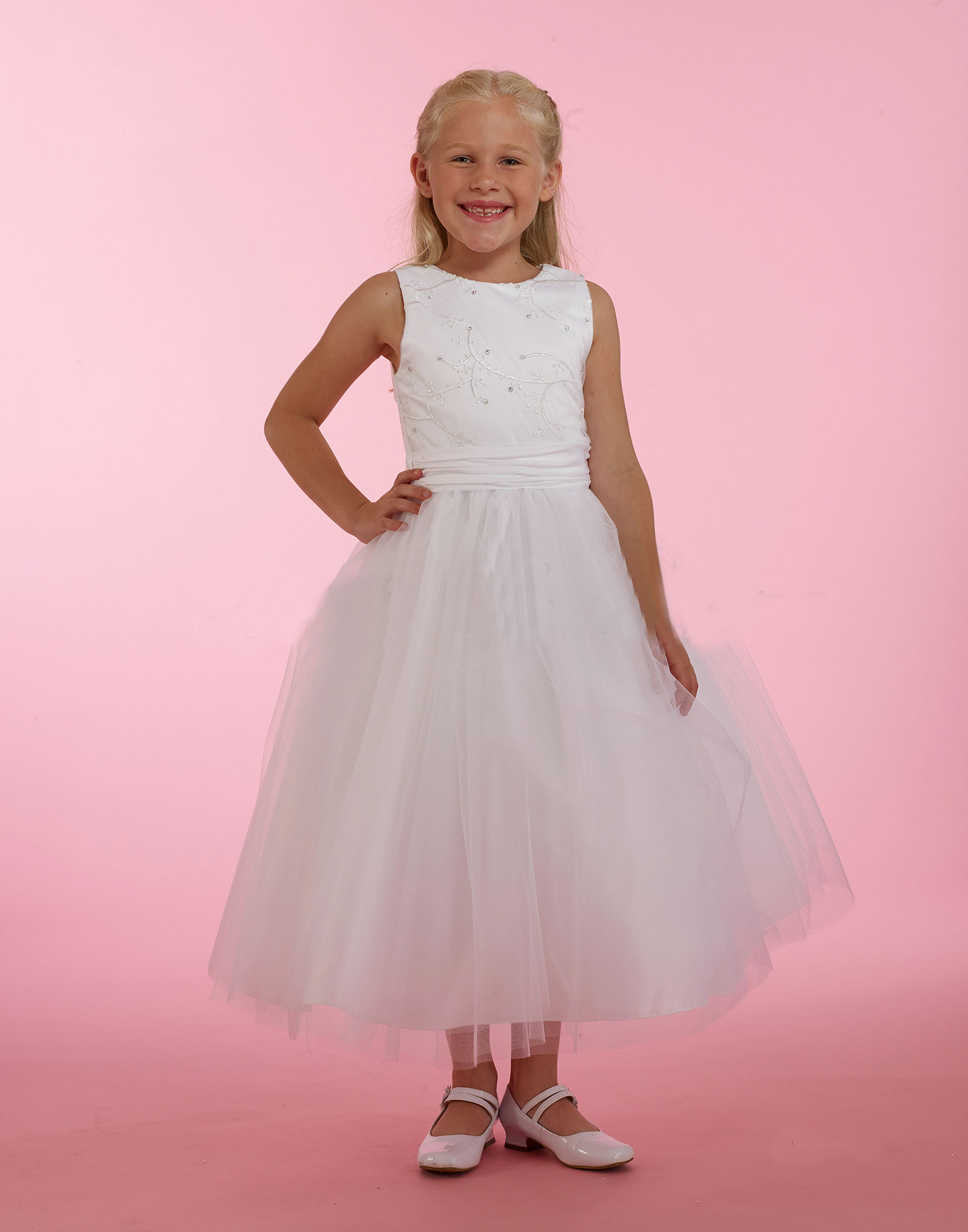 MD T2021 Couture Designer Girls Dress Style T2021 WHITE Embroidered Satin