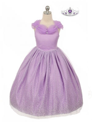 382c7148c50 Girls Dress Style 1034 - Off the Shoulder Organza Dress with Glitter  Flocking in Choice of
