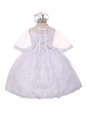 f561a4d805d Girls Baptism-Christening Gown Style 414 - WHITE Organza Dress with  Embroidered Virgin Mary Design