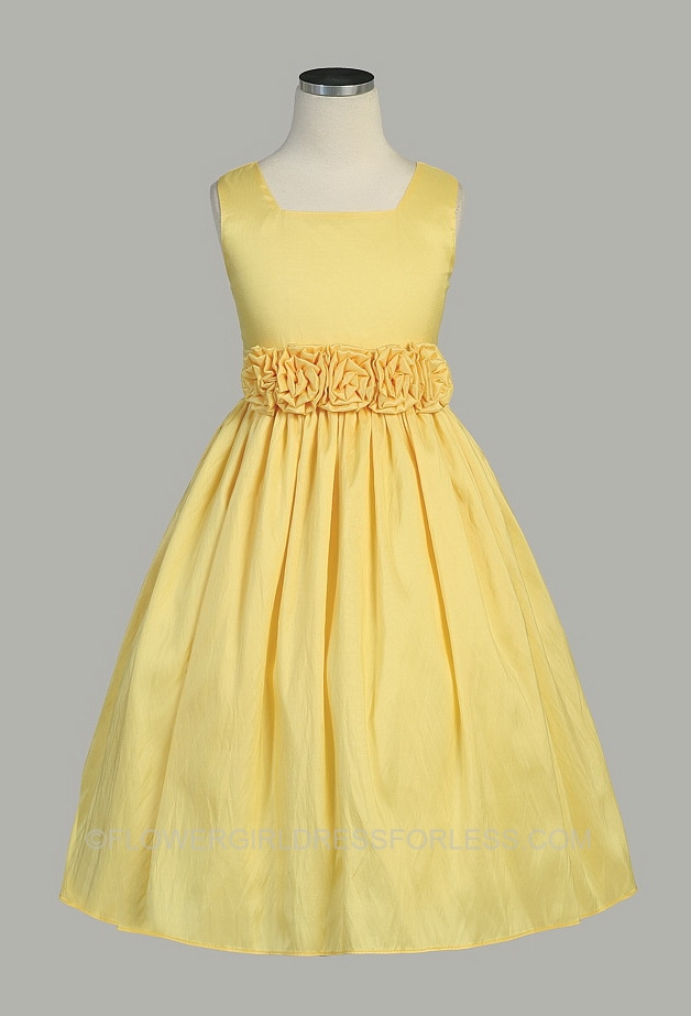Yellow Springtime Flower Girl Dresses 5