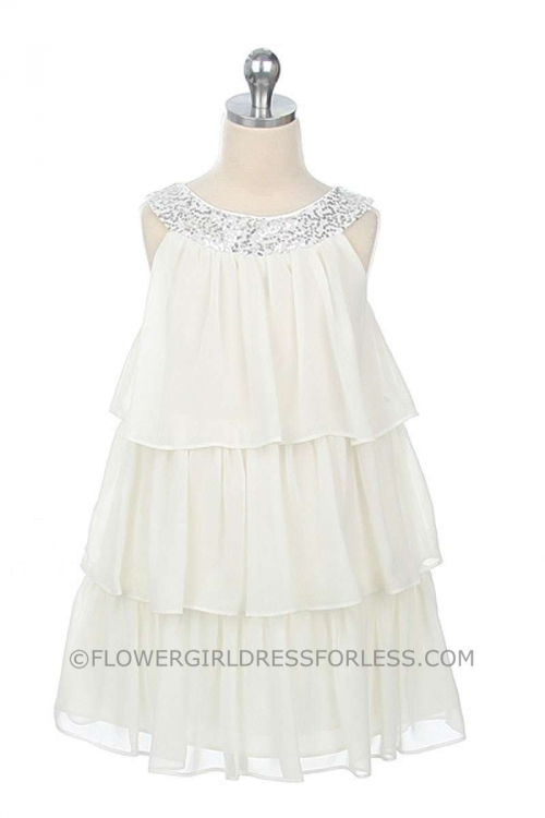 ea285e497b8 SK 3707W - Flower Girl Dress Style 3707- OFF-WHITE Knee Length