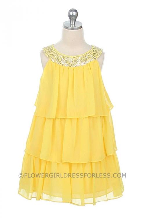 SK_3707Y - Flower Girl Dress Style 3707- Knee Length- 3 Tier ...