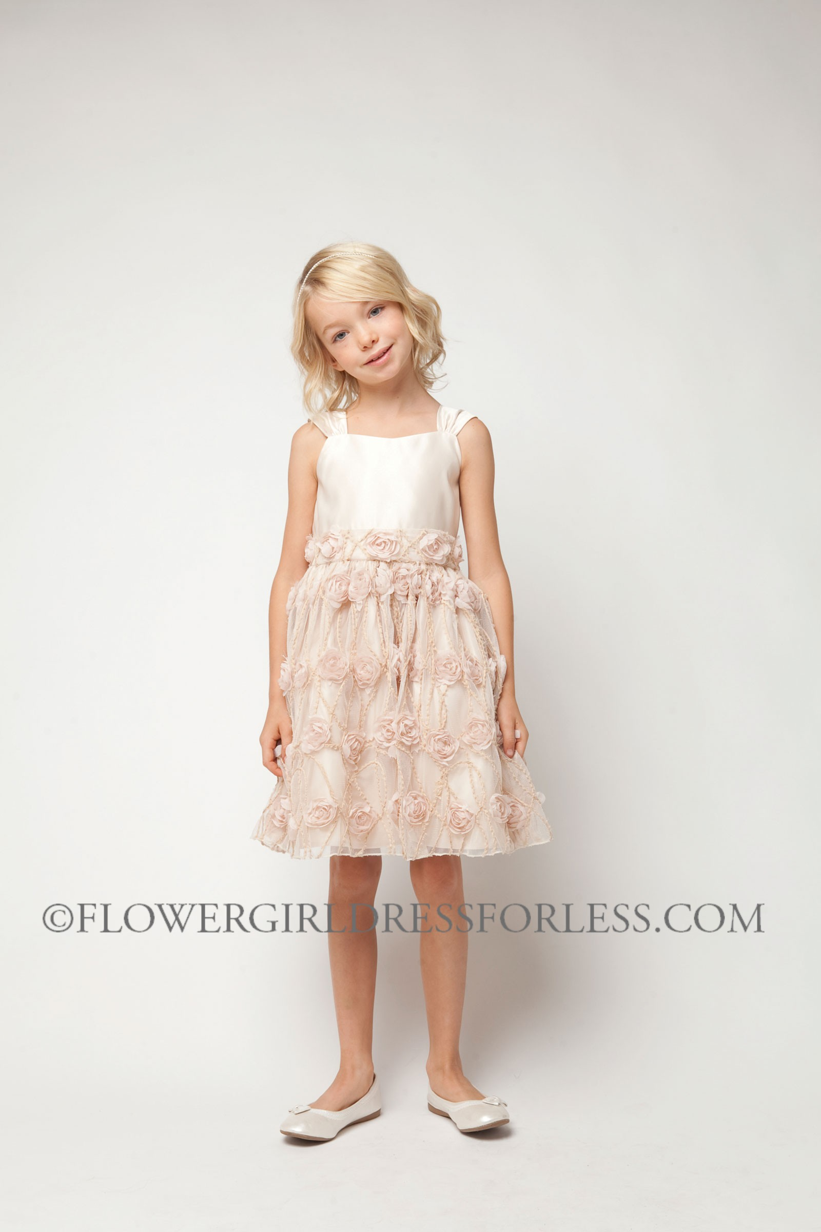 SK 476P Girls Dress Style 476 Satin and Rose Vine Mesh