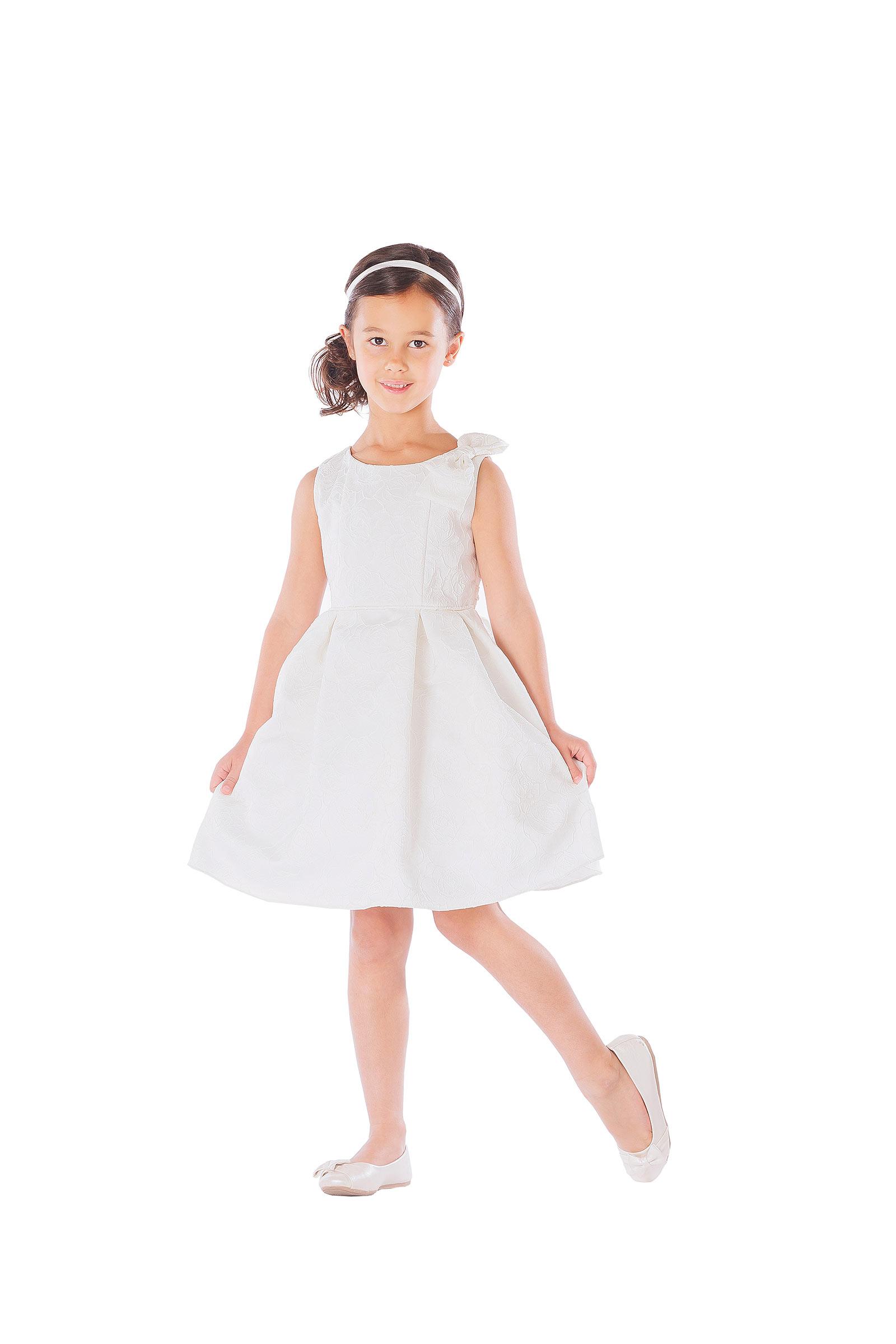 SK 554IV Flower Girl Dress Style 554 Rose Jacquard Dress with Shoulder Bow