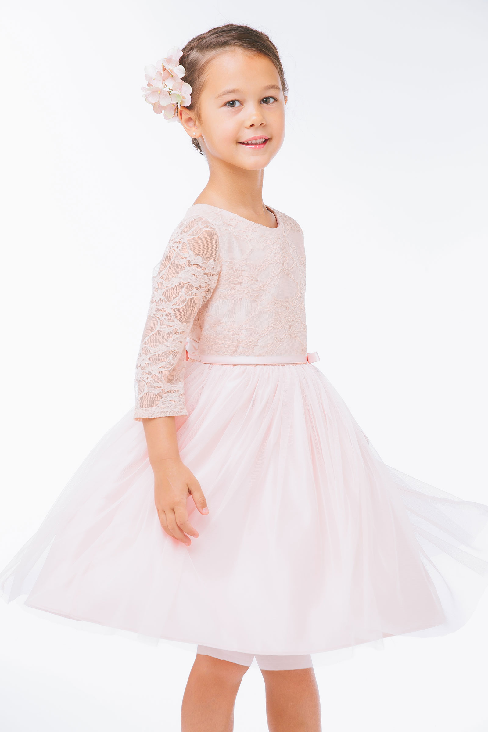 SK 599BL Girls Dress Style 599 Tulle Dress with Lace