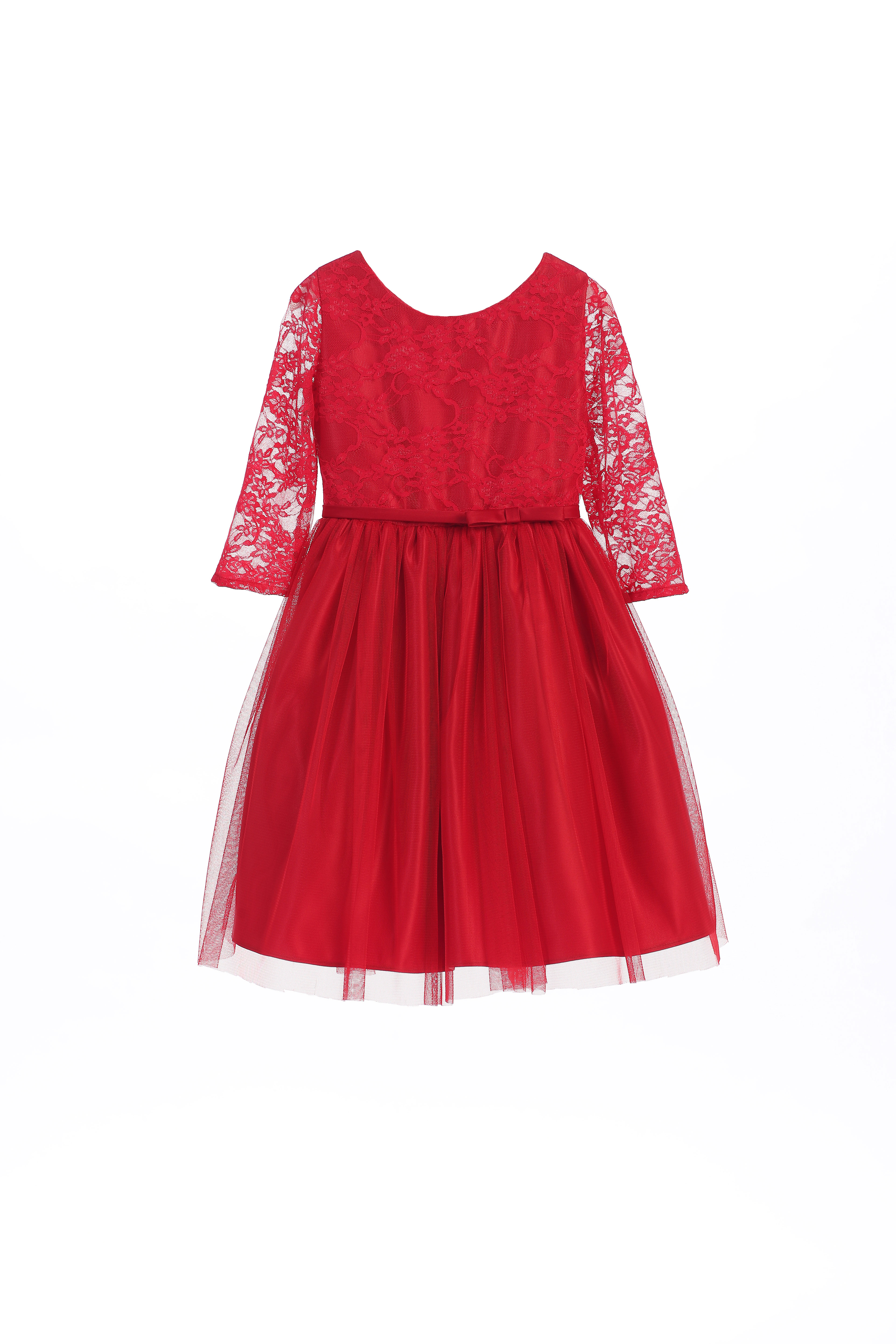 SK 599R Girls Dress Style 599 Tulle Dress with Lace Bodice in Choice of Co