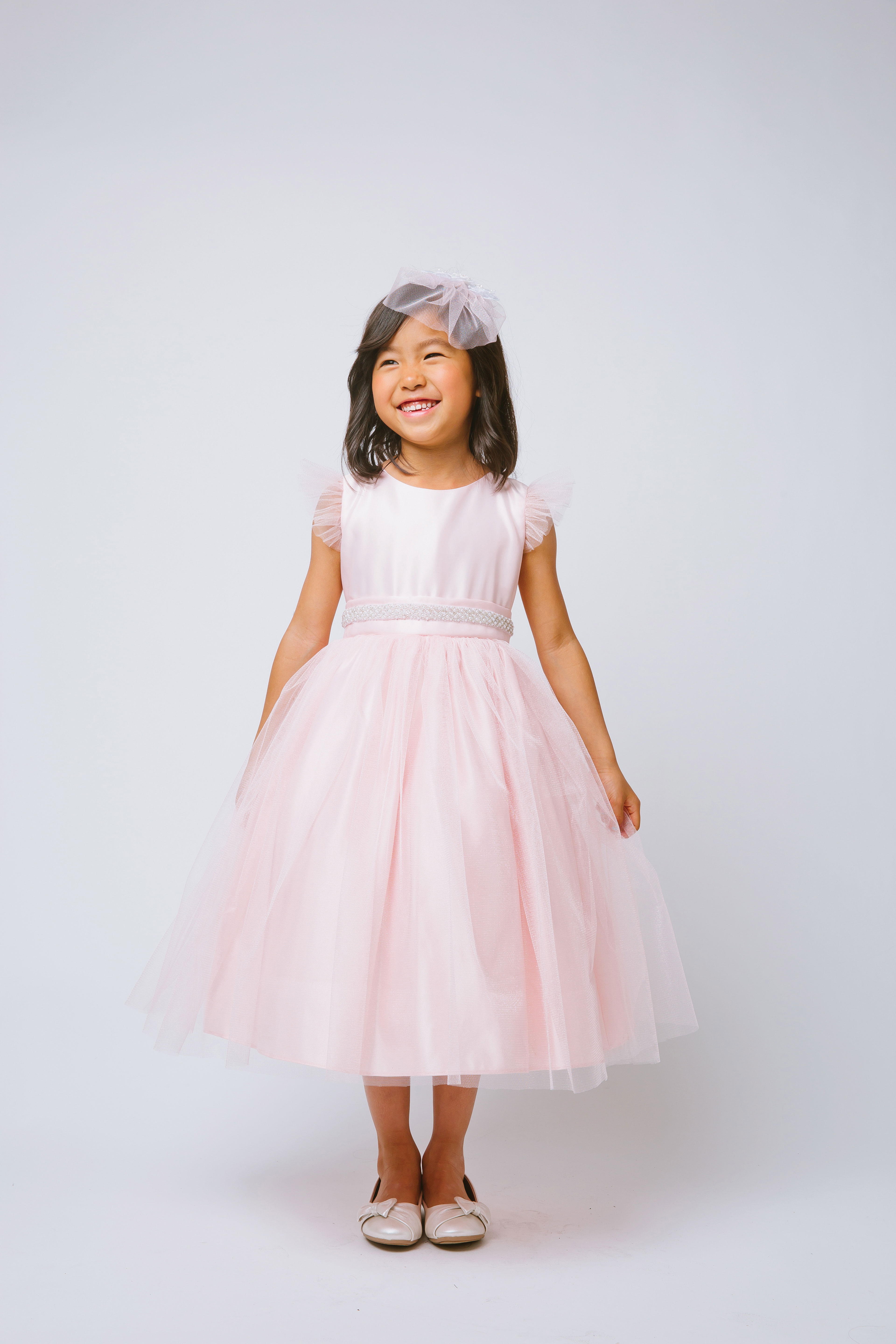SK 611P Girls Dress Style 611 Tulle Dress with Flutter