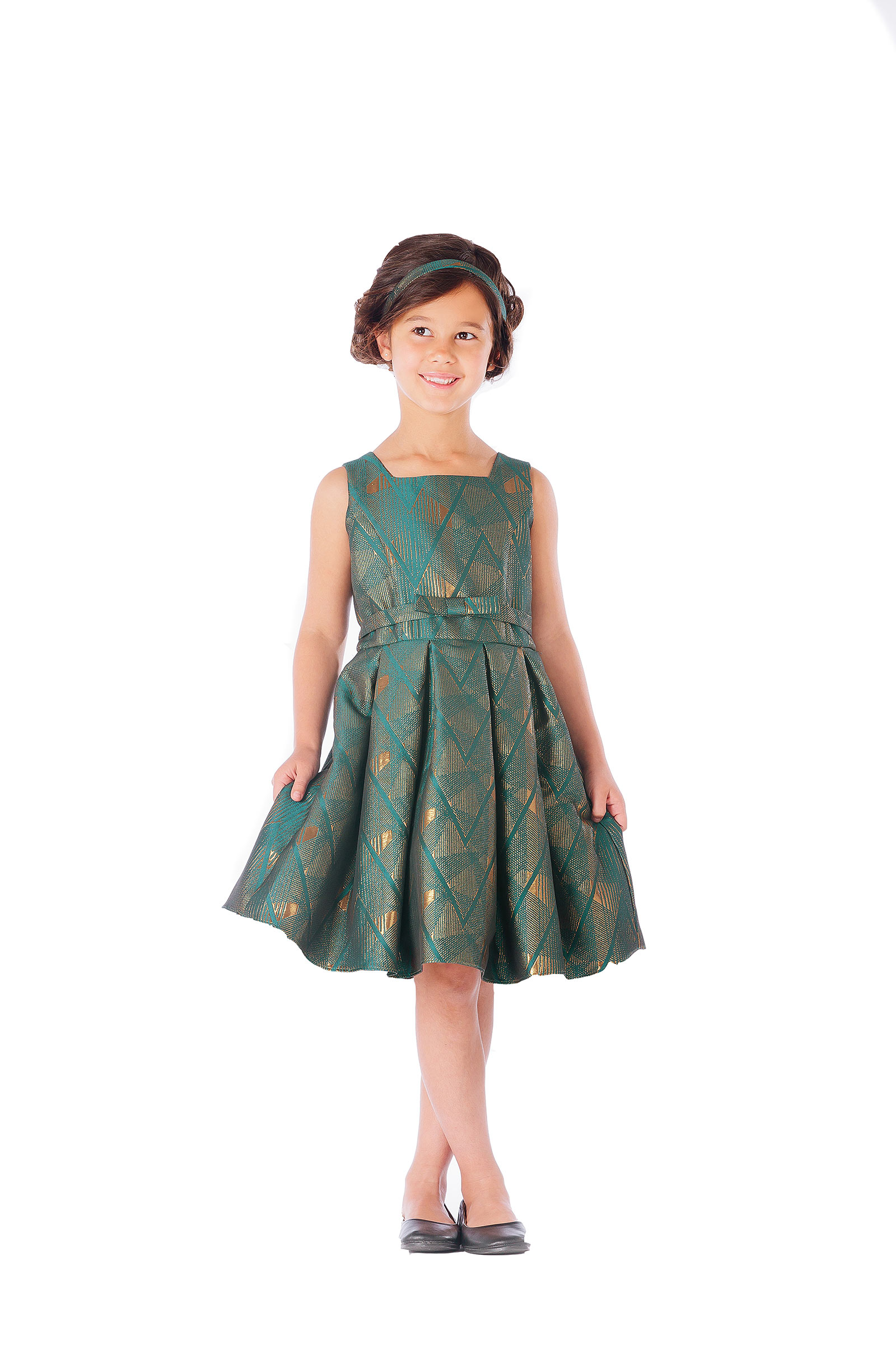 SK 659EM Girls Dress Style 659 Jacquard Dress with Metallic Geometric Des