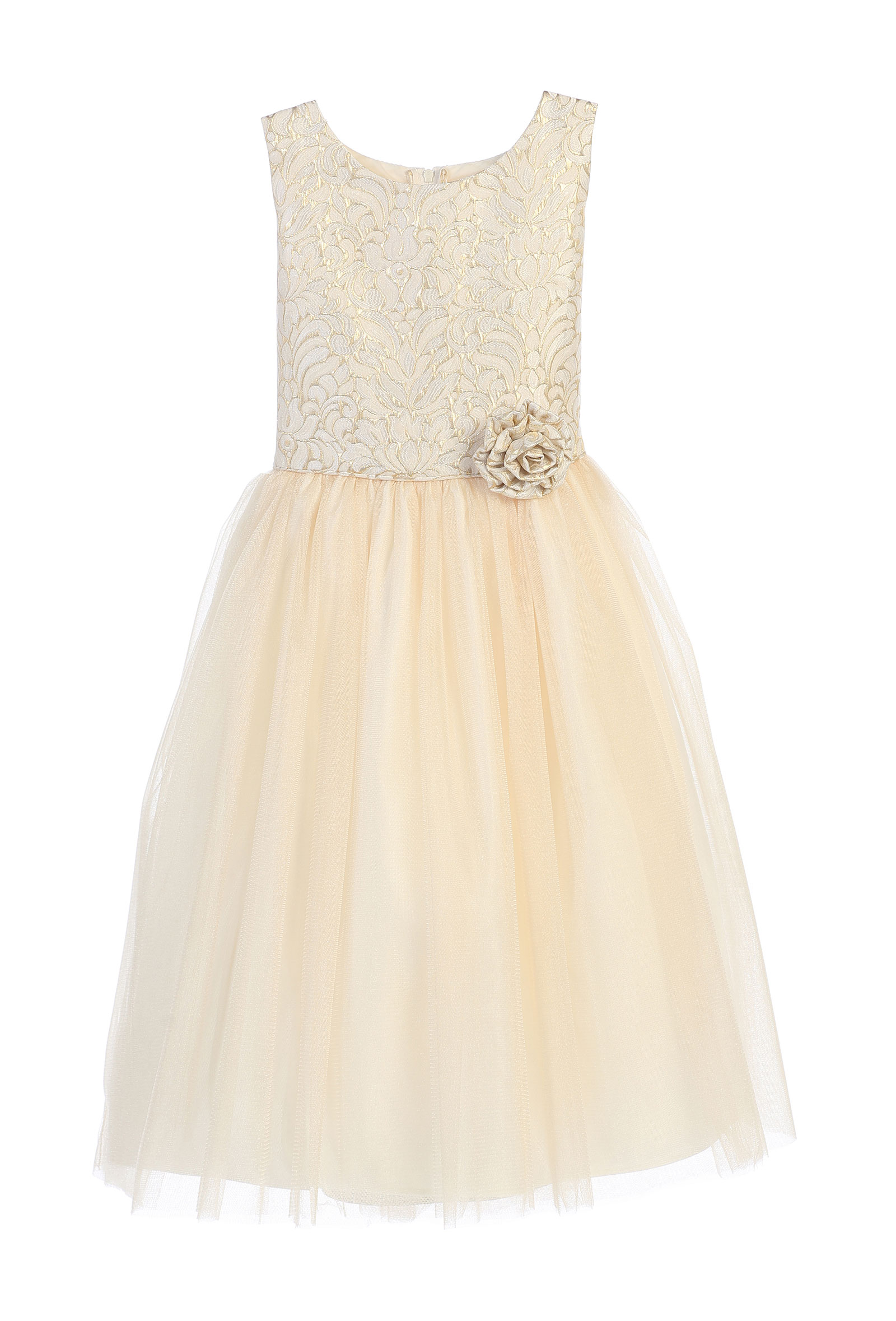 SK 671IV Girls Dress Style 671 Multitone Jacquard and Tulle Dress in Choi