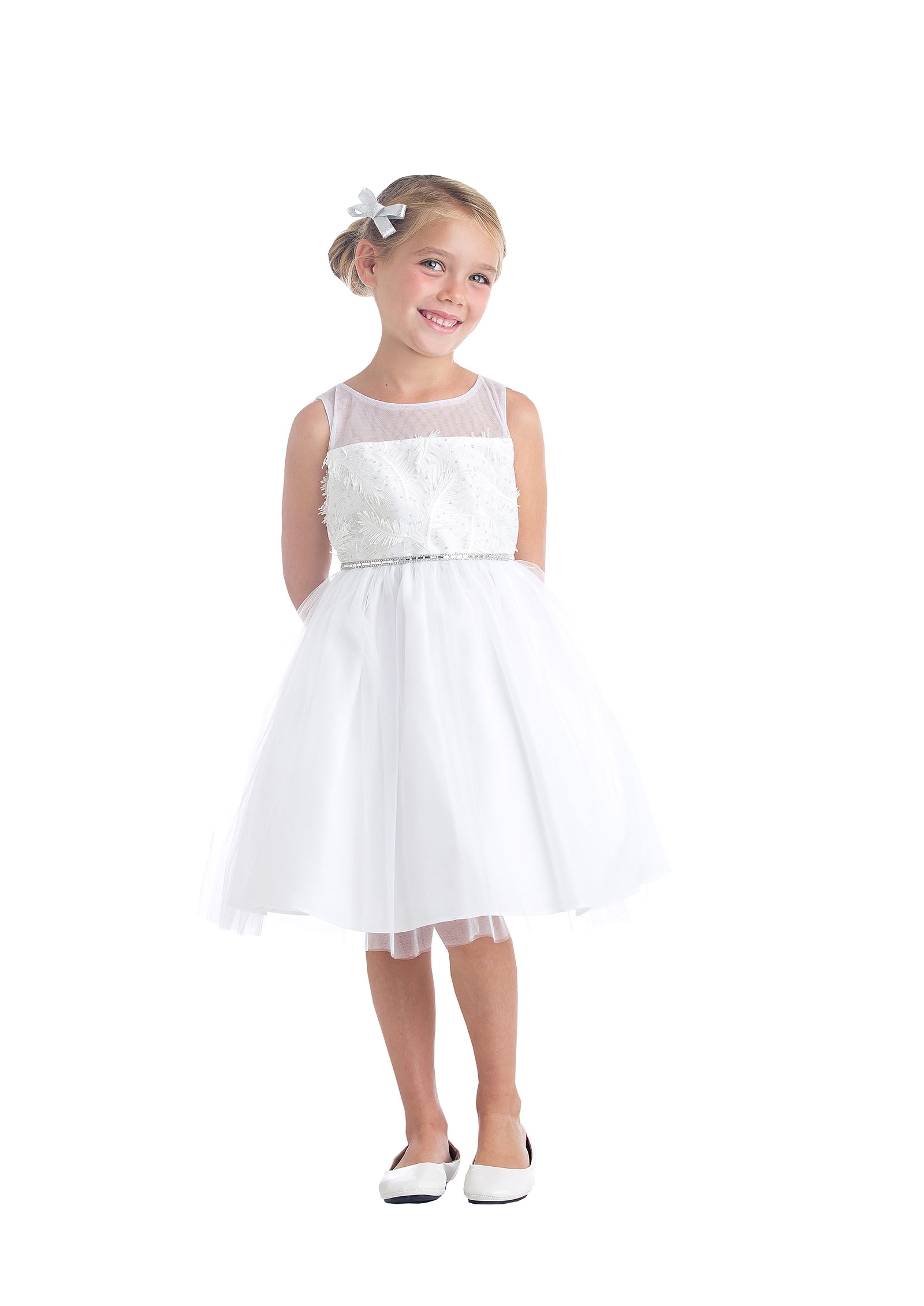 SK 699OW Girls Dress Style 699 Sleeveless Mesh and