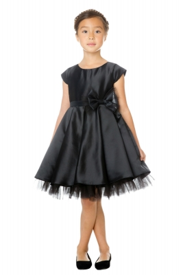fce33295774 Girls Dress Style 711 - BLACK Cap Sleeved All Satin Dress with Peekaboo  Tulle Skirt