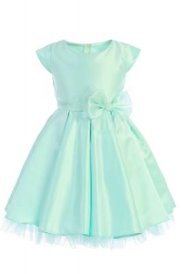 921db7f2288 Girls Dress Style 711 - MINT Cap Sleeved All Satin Dress with Peekaboo Tulle  Skirt
