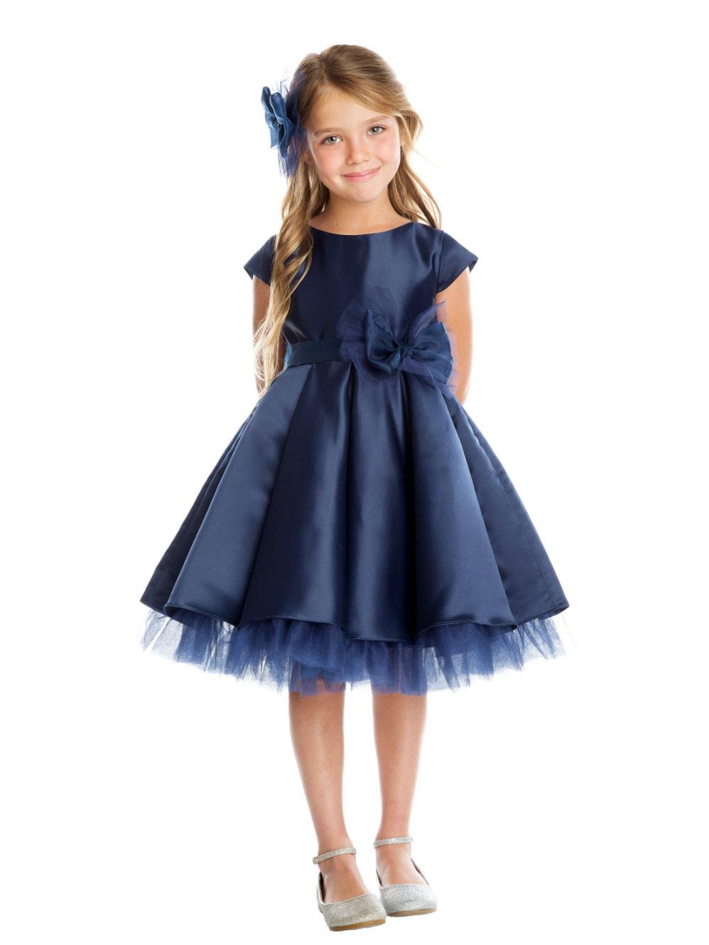 Sk 711nv Girls Dress Style 711 Navy Cap Sleeved All