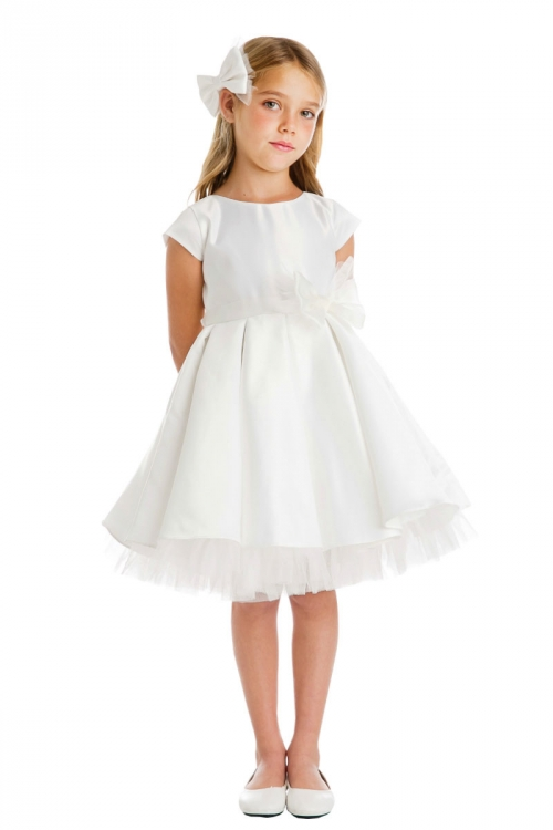 SK_711OW - Girls Dress Style 711 - OFF WHITE Cap Sleeved All Satin ...