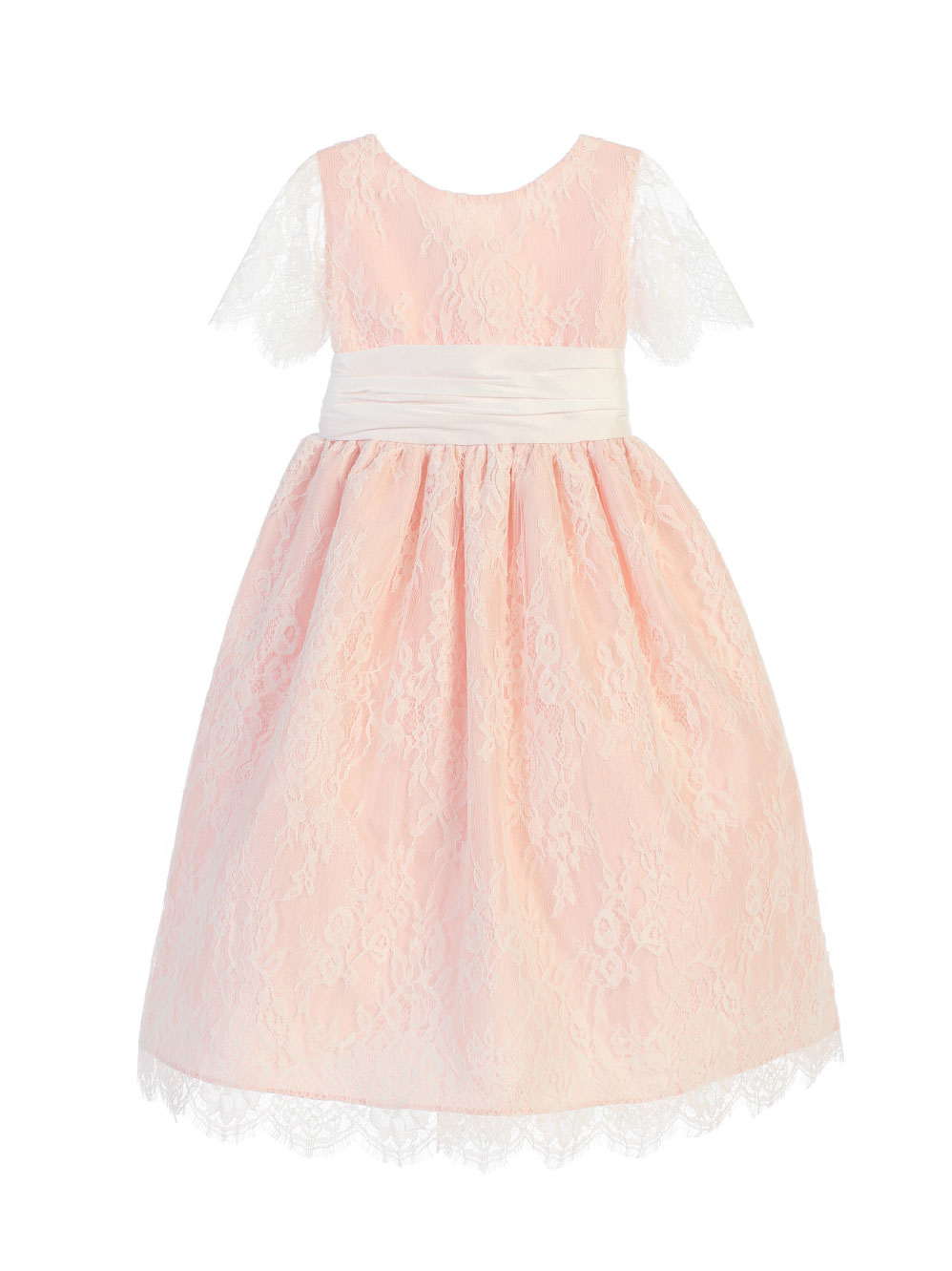 f78b15d3ce8 SK 724W - Girls Dress Style 724 - Short Sleeved French Lace and ...