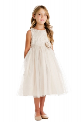 7b54985626c Girls Dress Style 735 - Garden Floral Dress with Tulle Skirt in Choice of  Color