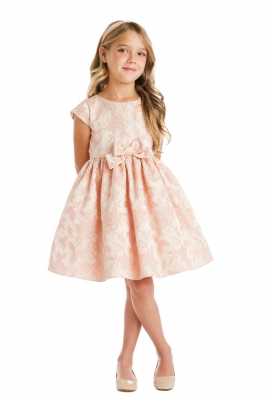 Rose flower girl dresses flower girl dress for less girls dress style 736 short sleeved garden floral jacquard dress in choice of color mightylinksfo