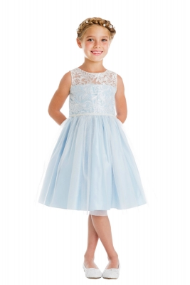 61e7bf49000 Girls Dress Style 740 - Luxe Embroidered Mesh and Pearl Dress in Choice of  Color