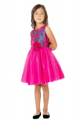 eb8b171ab2 Fuchsia. Girls Dress Style 760 - Short Sleeve Floral Jacquard and Tulle  Dress
