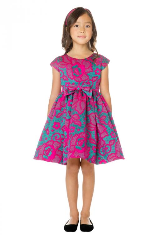 62e2eb6236 SK 761FUS - Girls Dress Style 761 - Short Sleeve Floral Jacquard Dress - Holiday  Dresses - Flower Girl Dresses - Flower Girl Dress For Less