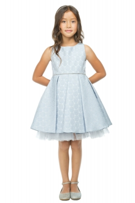 c158cfb3b7 Girls Dress Style 788 - Pleated Metallic Jacquard Dress in Choice of Color