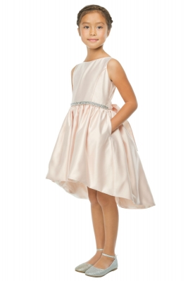 d0597ea749 Girls Dress Style 801 - High-Low Satin Cocktail Dress with Pockets in  Choice of