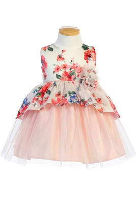 af5cad2908 Girls Dress Style 802 - Floral Print and Peplum and Tulle Dress in Choice  of Color