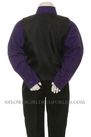 Boys Vest Set Style 7000 Purple Shirt With Black Vest And