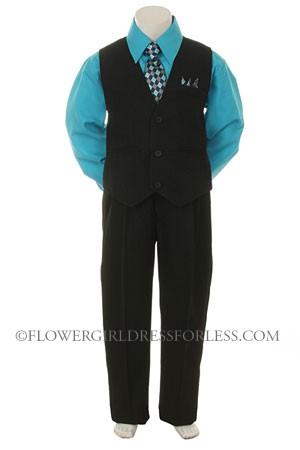 Sn 7000tur Boys Vest Set Style 7000 Turquoise Shirt