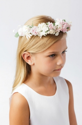 Girls Floral Bridal Quality Headwreath - Style 116- Floral with Back Ribbon 3030e616519
