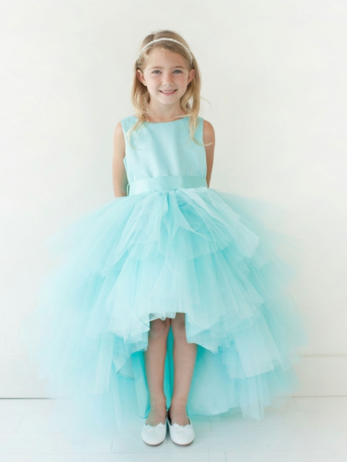 c6ca87dc6e8 Girls Dress Style 5658 - Satin and Tulle High Low Dress In Choice of Color