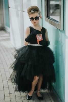 1f5b941d0b5 Black. Girls Dress Style 5658 - Satin and Tulle High Low Dress In Choice of  Color