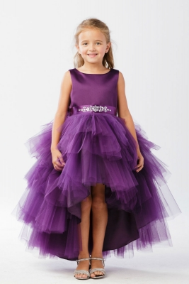 128e5f47b7 Girls Dress Style 5658 - Satin and Tulle High Low Dress In Choice of Color