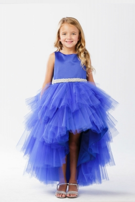 14575af0650 Girls Dress Style 5658 - Satin and Tulle High Low Dress In Choice of Color