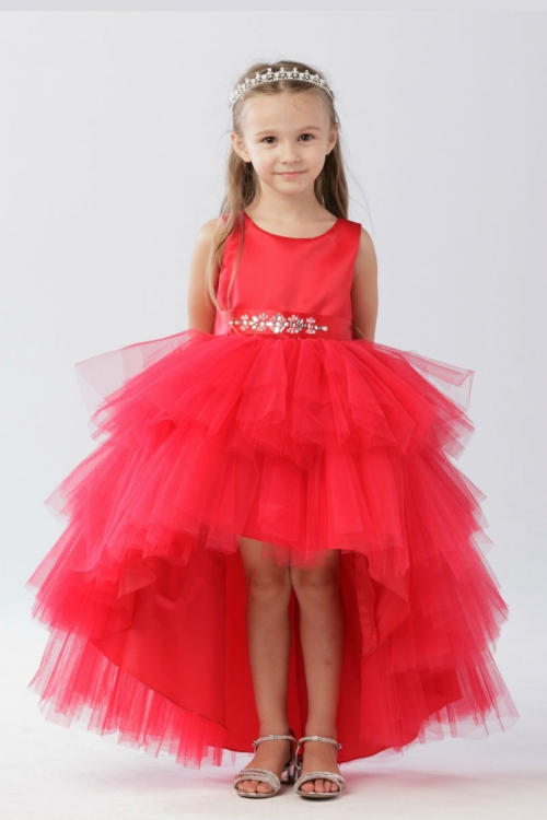 TT_5658R - Girls Dress Style 5658 - Satin and Tulle High Low Dress ...