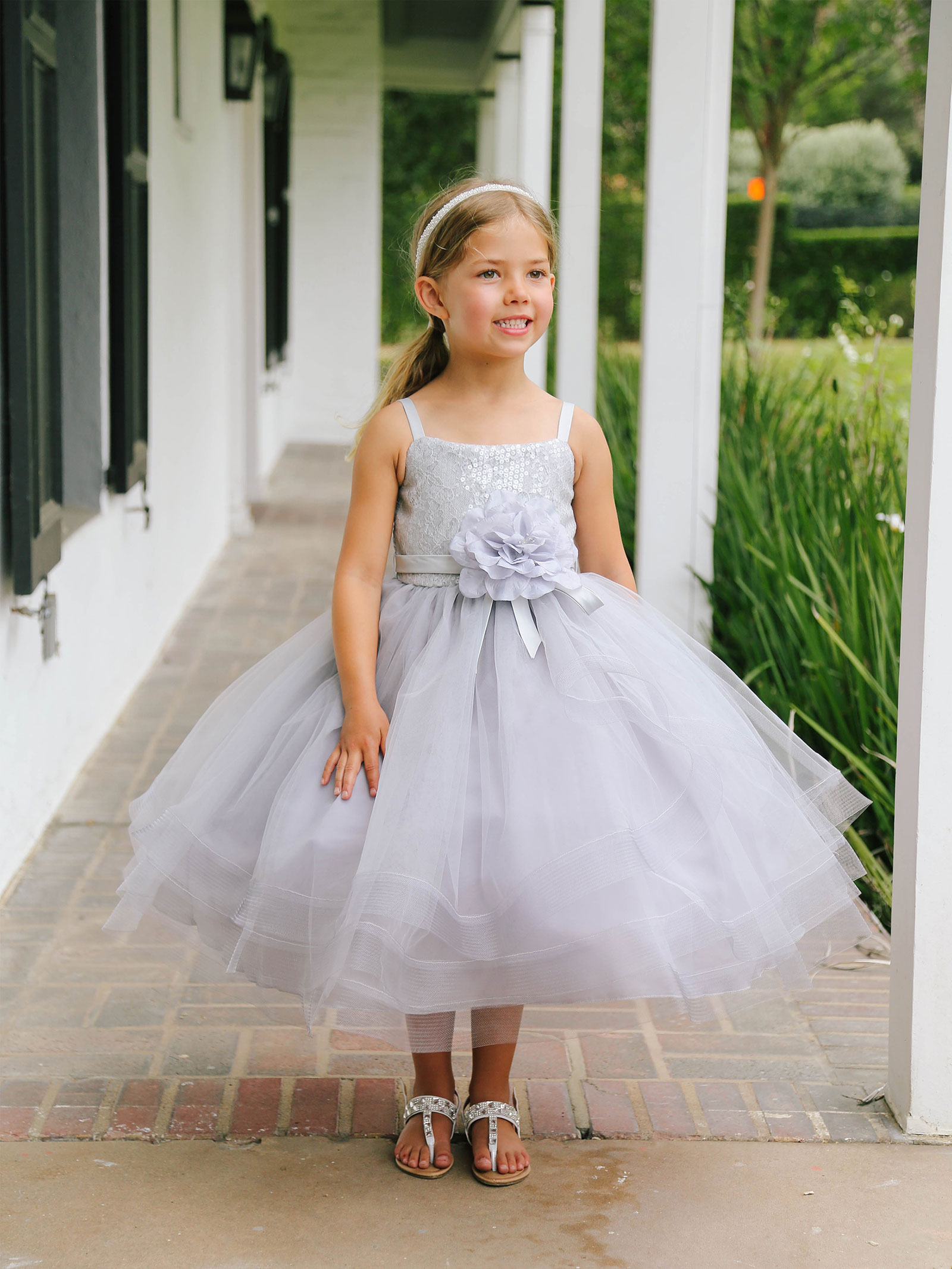 TT 5662GY Girls Dress Style 5662 In Choice of Color Silver Grays Flowe