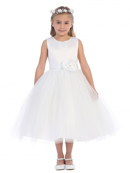 Tt5667w Girls Dress Style 5667 All White Sleeveless Satin With