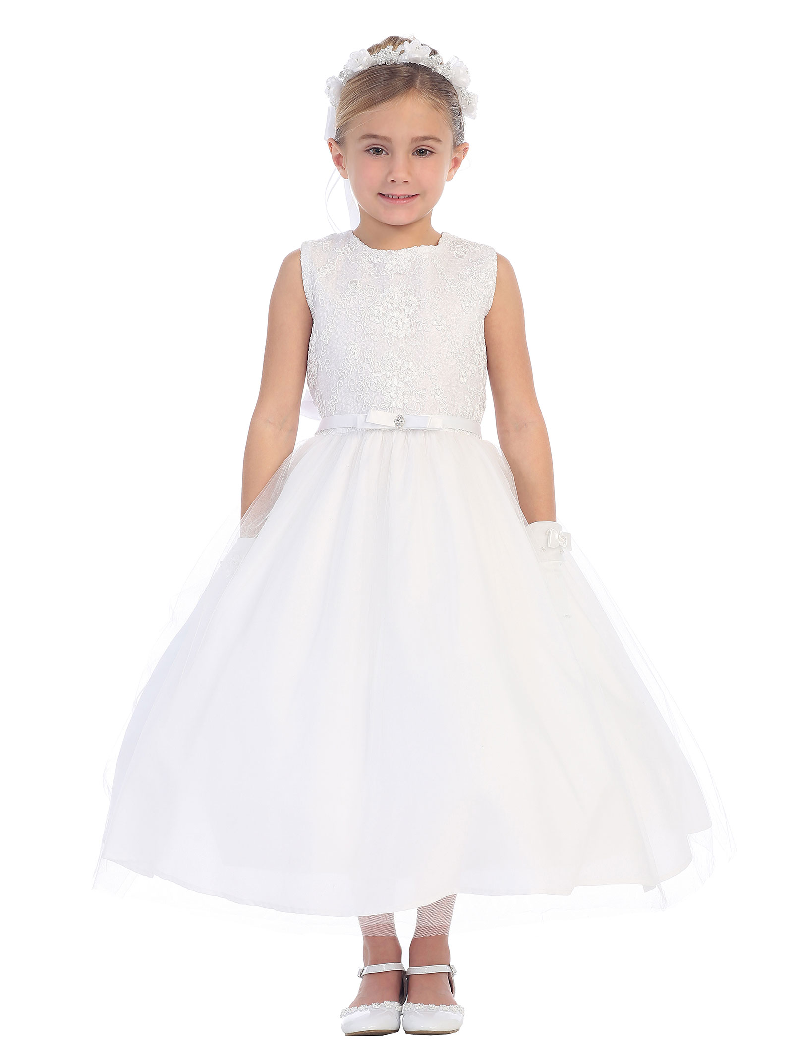 TT 5690W Girls Dress Style 5690 Sleeveless Lace and Tulle Dress In Choice