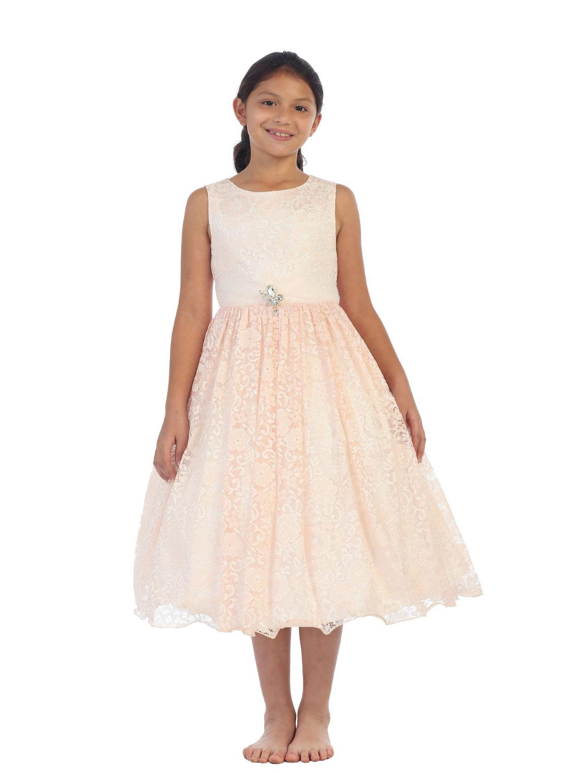 TT 5694BP Girls Dress Style 5694 BLUSH PINK Sleeveless Floral Lace Dress