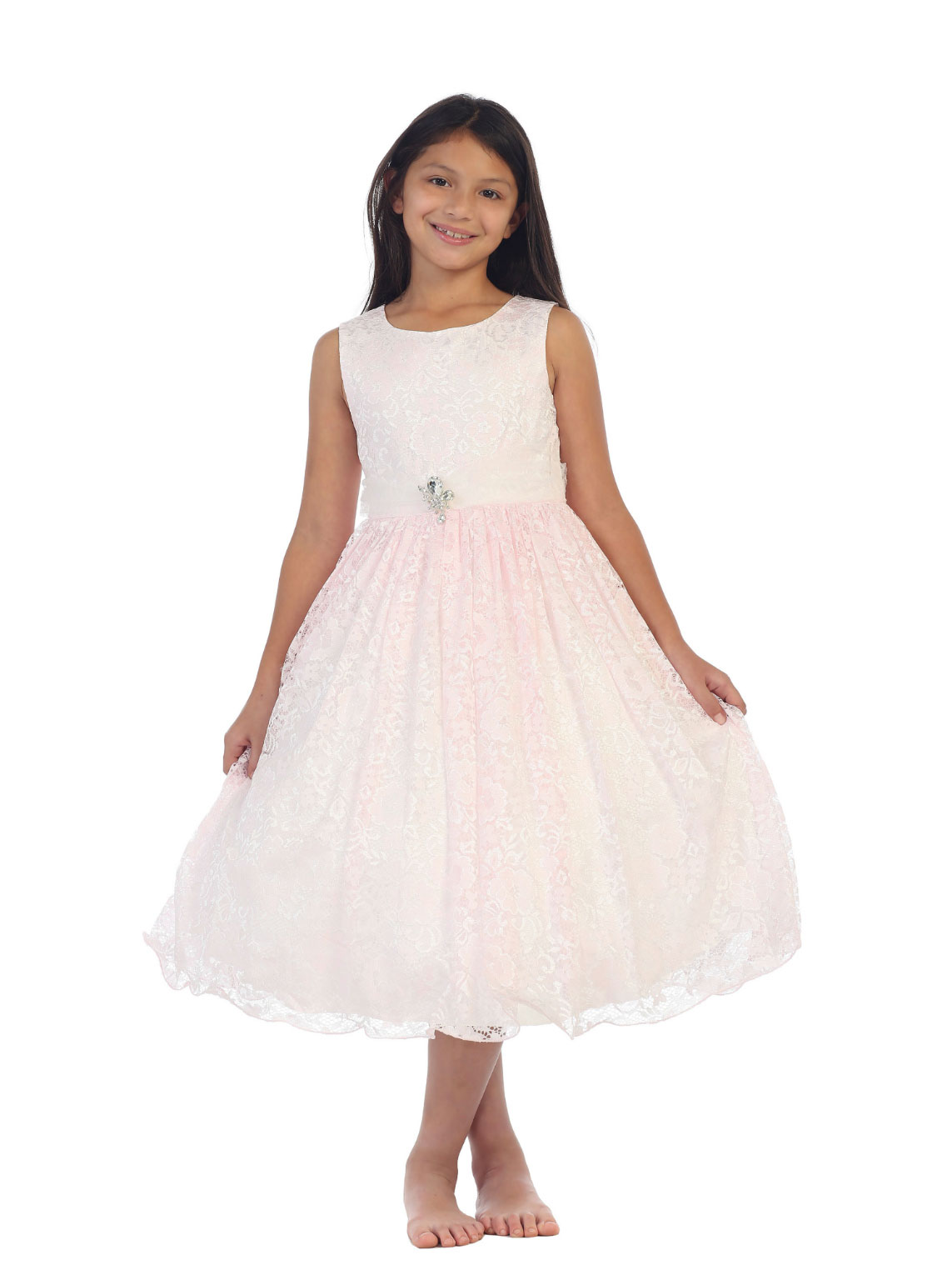 TT 5694P Girls Dress Style 5694 PINK Sleeveless Floral Lace Dress with Br