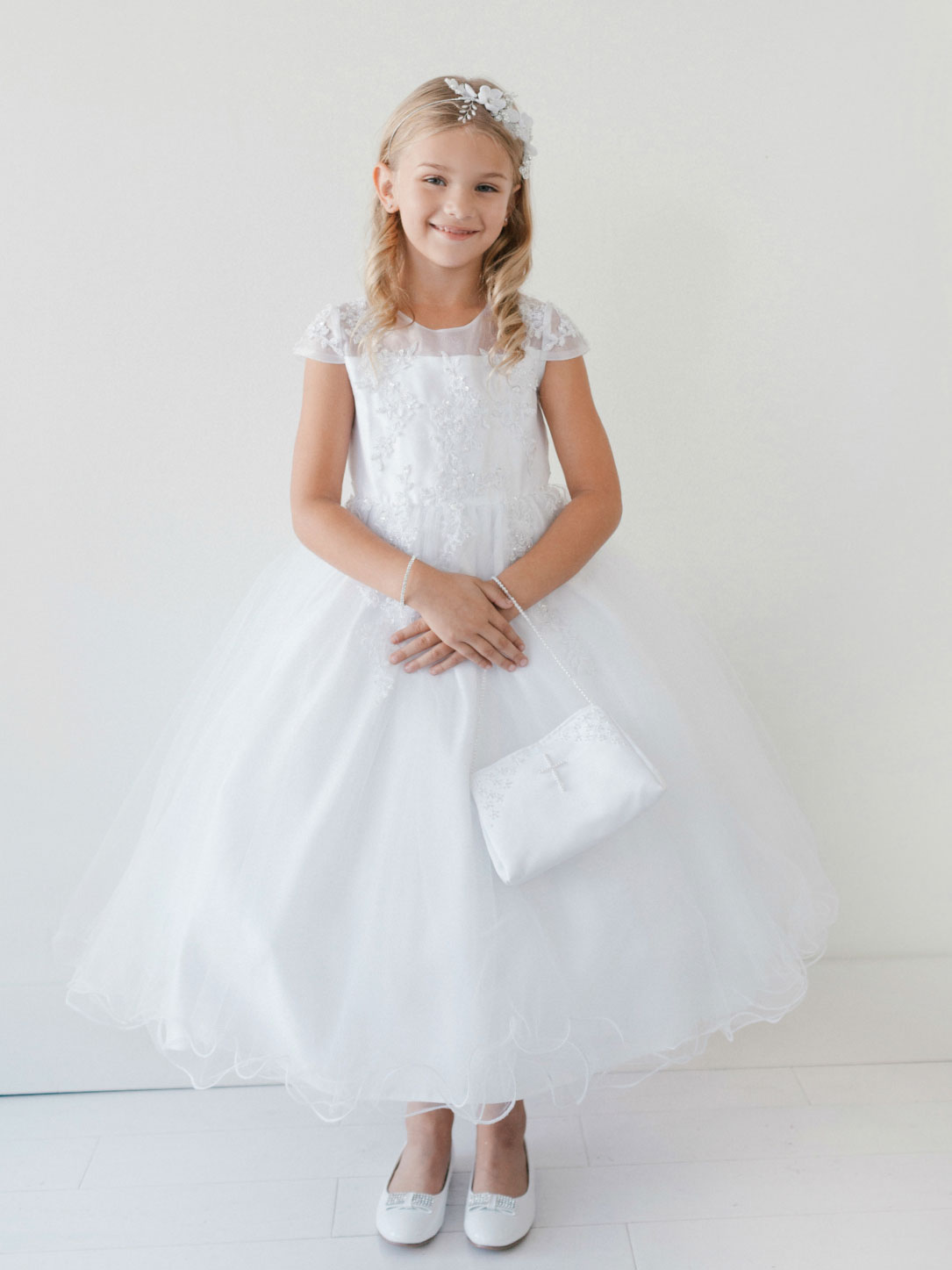 Tt 5695 Girls Dress Style 5695 White Cap Sleeve Tulle