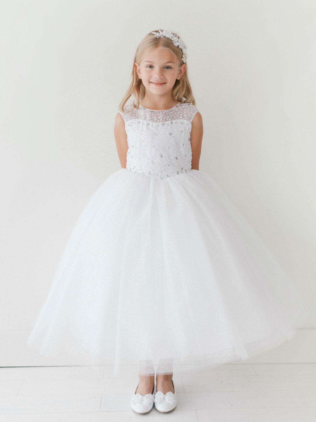 Tt 5697w Girls Dress Style 5697 Cap Sleeve Beaded