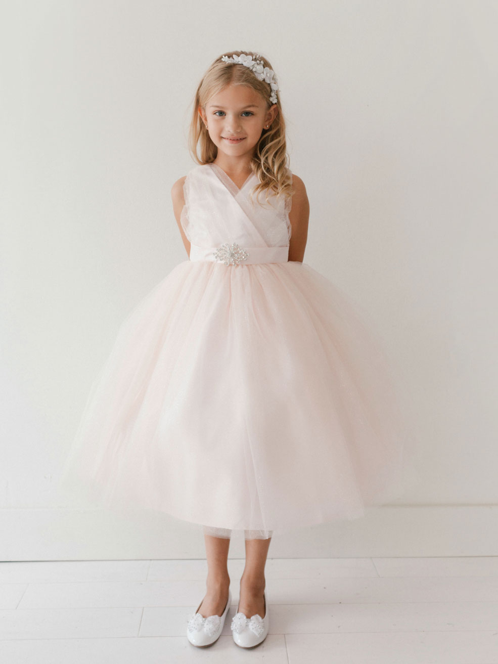 Tt 5698bp Girls Dress Style 5698 Blush Pink Sparkly