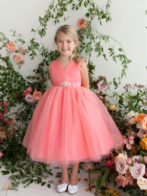 e5cb9c30d TT 5698CO - Girls Dress Style 5698 - CORAL Sparkly Tulle Dress with ...