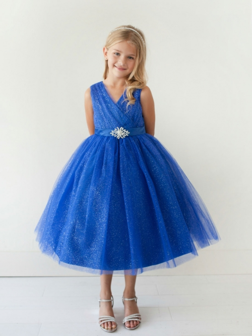 f3f0d819 Girls Dress Style 5698 - ROYAL BLUE Sparkly Tulle Dress with Matching  Rhinestone Sash