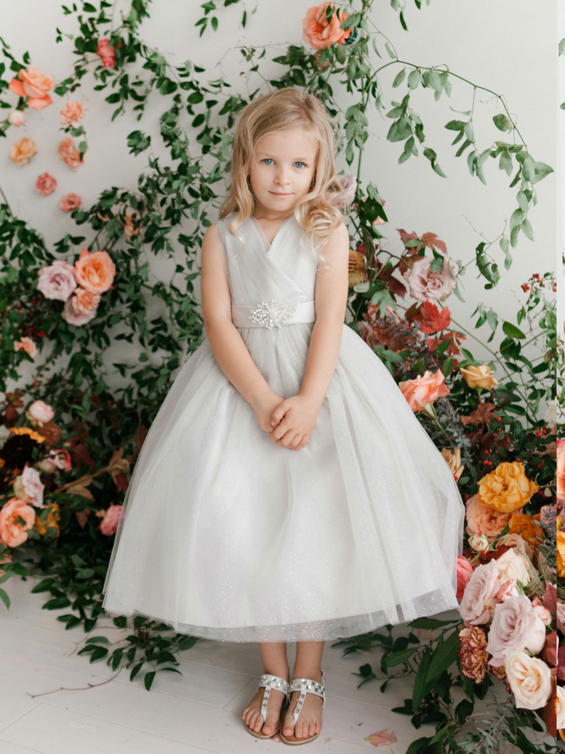 Tt 5698sv Girls Dress Style 5698 Silver Sparkly Tulle