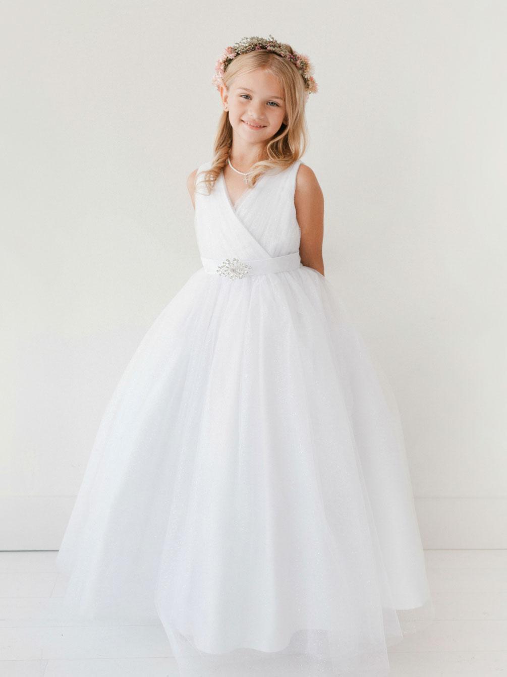 Tt 5698 Long Girls Dress Style 5698 White Long Length