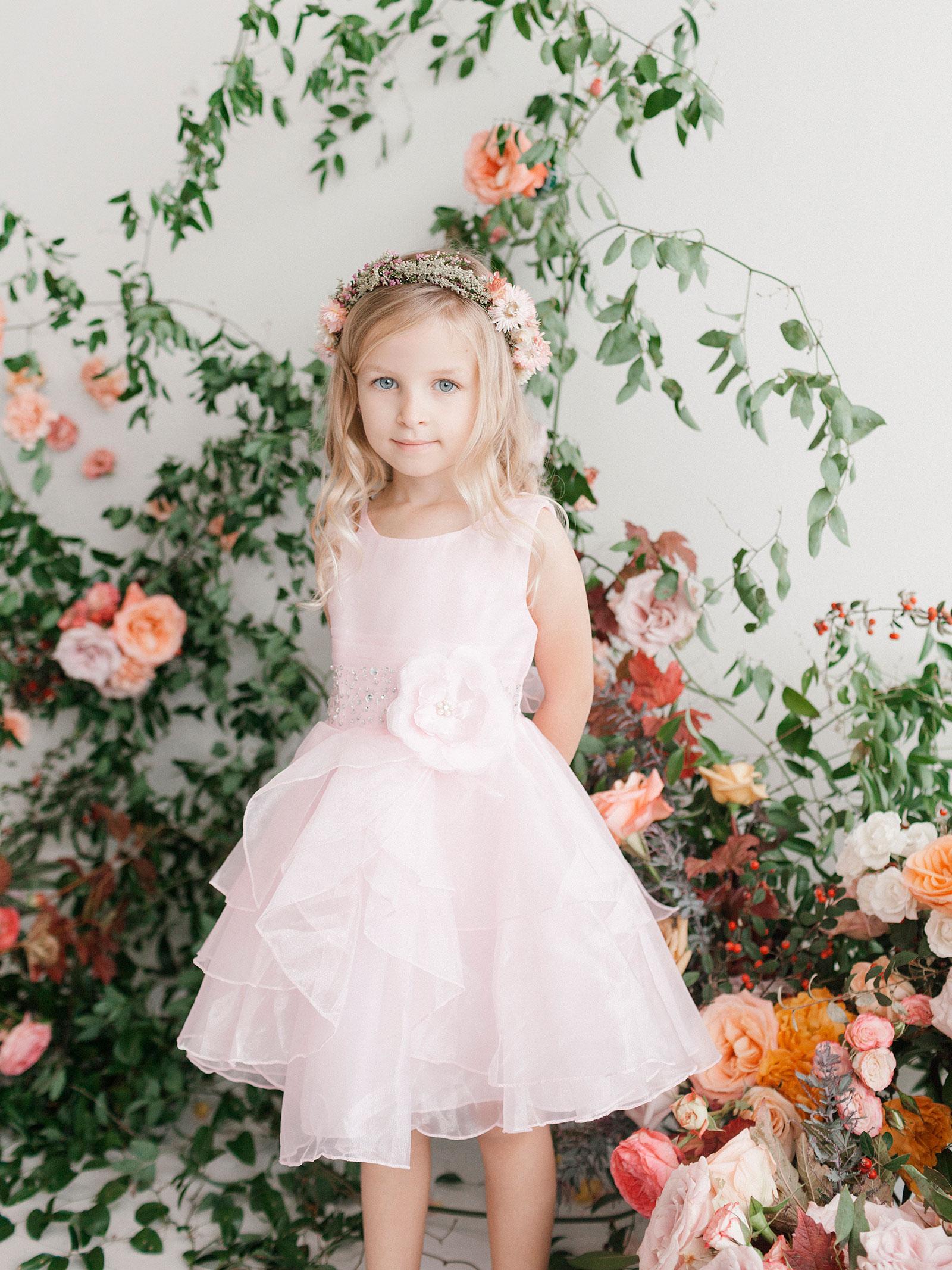 TT 5701BP Girls Dress Style 5701 BLUSH PINK Crystal Beaded Organza Dress