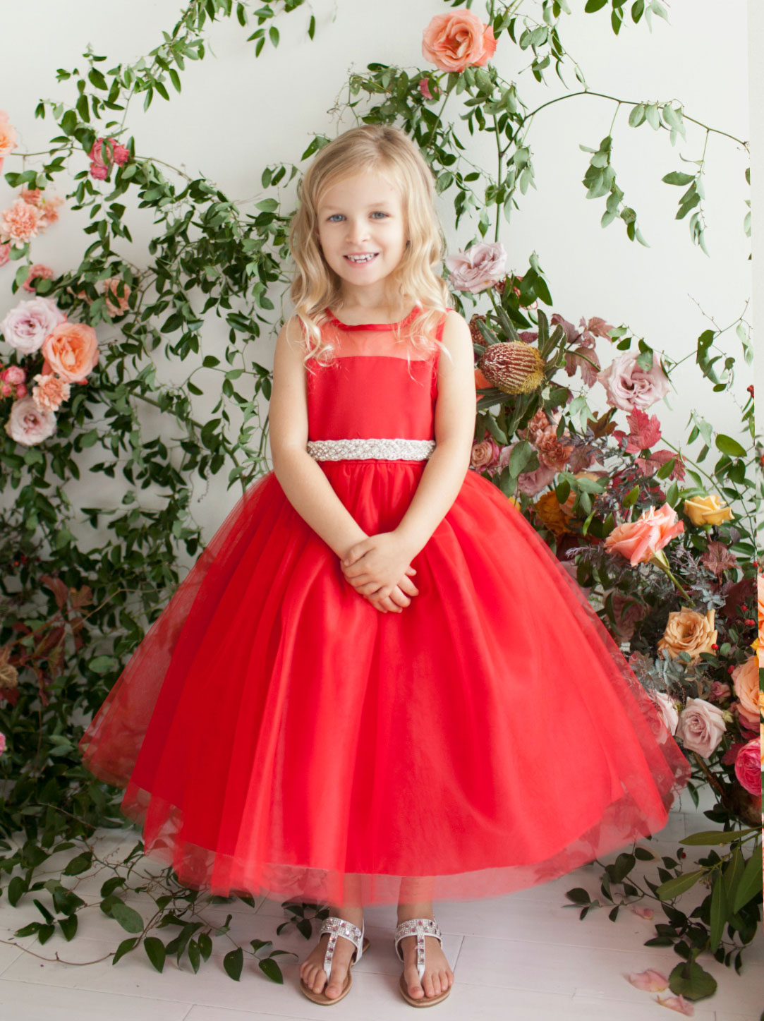 TT 5702R Girls Dress Style 5702 RED Tulle and Organza