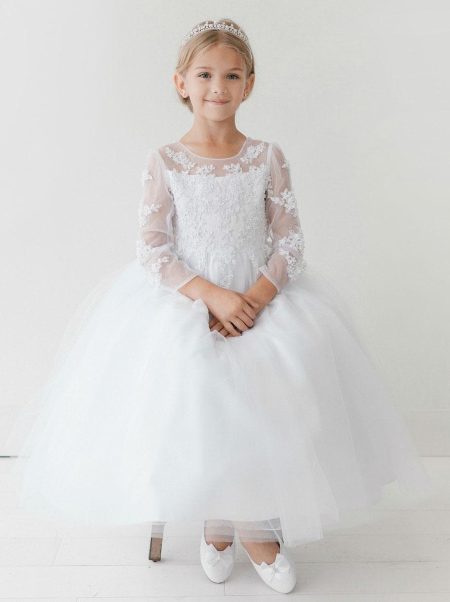 Tt 5705 Girls Dress Style 5705 White Organza Dress